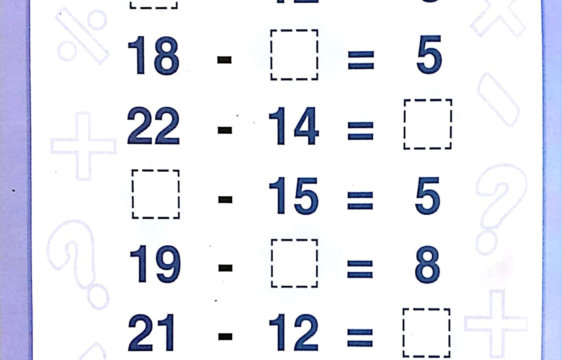 Download Free Printable Subtraction Worksheets 1st