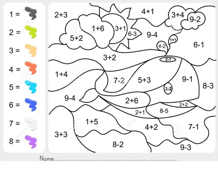 Addition And Subtraction Worksheets With Coloring By Number