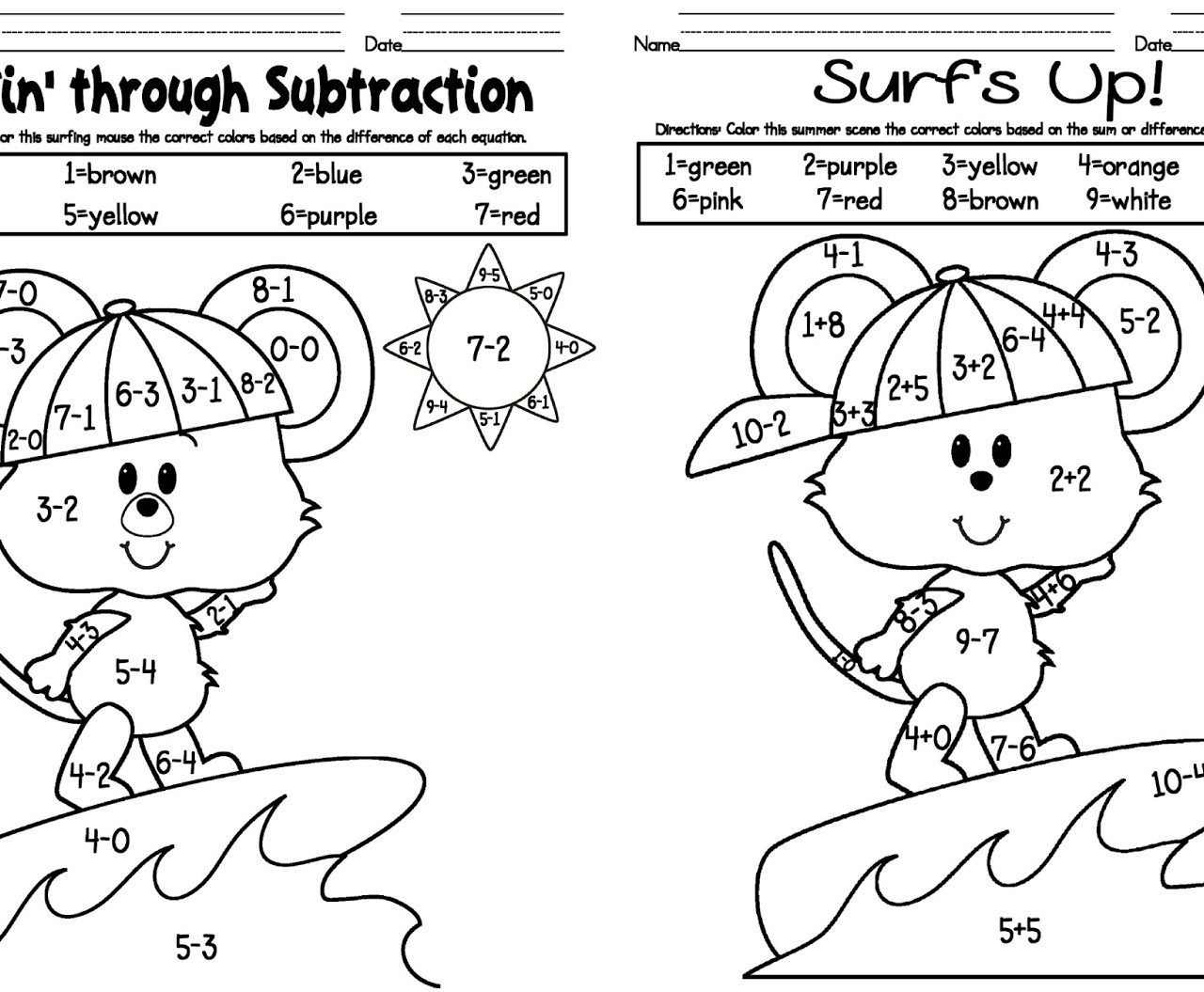 Addition And Subtraction Coloring Worksheets Free