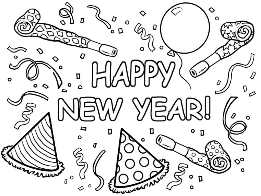 Happy New Year Coloring Pages Black White Sheets For