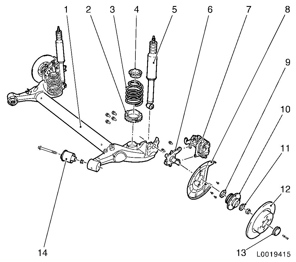 Vauxhall Workshop Manuals Gt Corsa D Gt F Rear Axle And Rear Wheel Suspension Gt Rear Axle Front