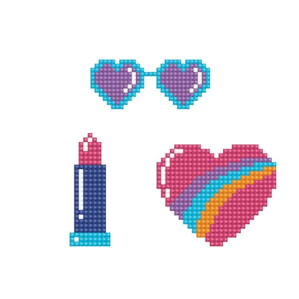 Diamond dotz dotzies stickers cool 1 zonnebril lippenstift hart