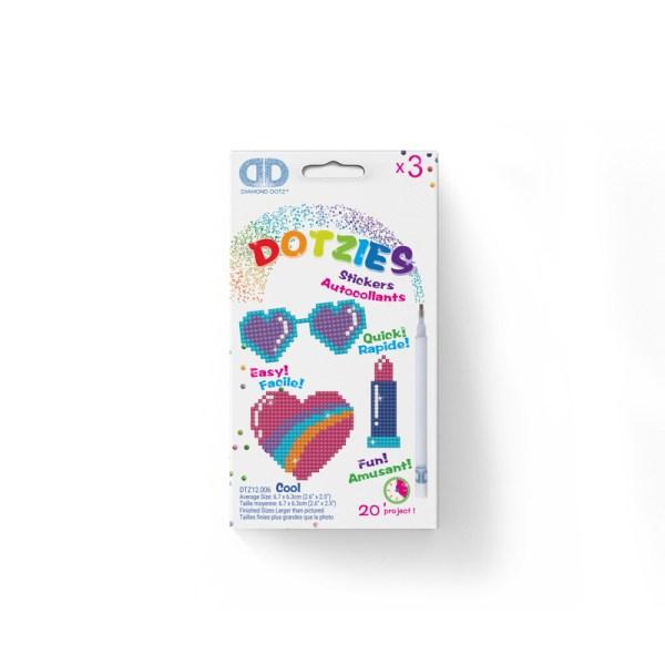 Diamond dotz dotzies stickers cool zonnebril lippenstift hart