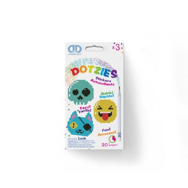 Diamond dotz dotzies stickers look smiley piraat doodshoofd