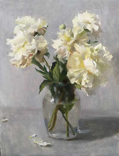 Still Life with White Peonies by Kyle Ma