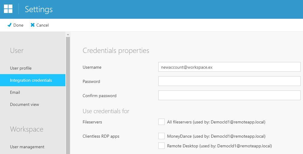 Credential sets Workspace 365
