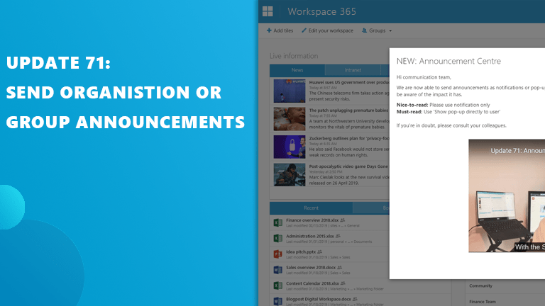 Update 71: Announcement Centre and SharePoint Sites live