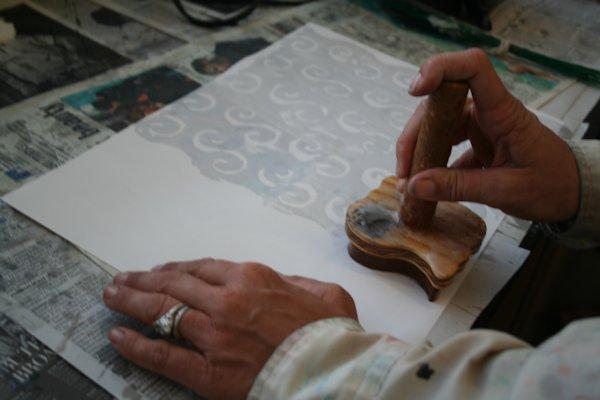 Applying Hot Wax Resist in Batik Workshop by Susi Hall