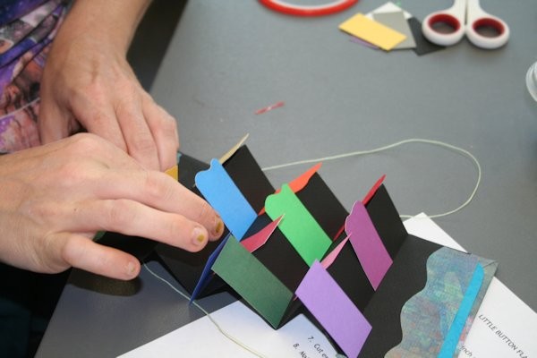 Making a flag book in workshop by Susi Hall