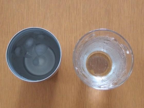 水滴が付かないグラス 30分後の様子