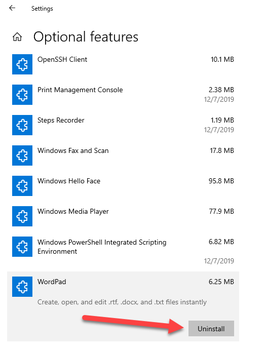 How to Install Or Uninstall WordPad in Windows 10 - Step By Step