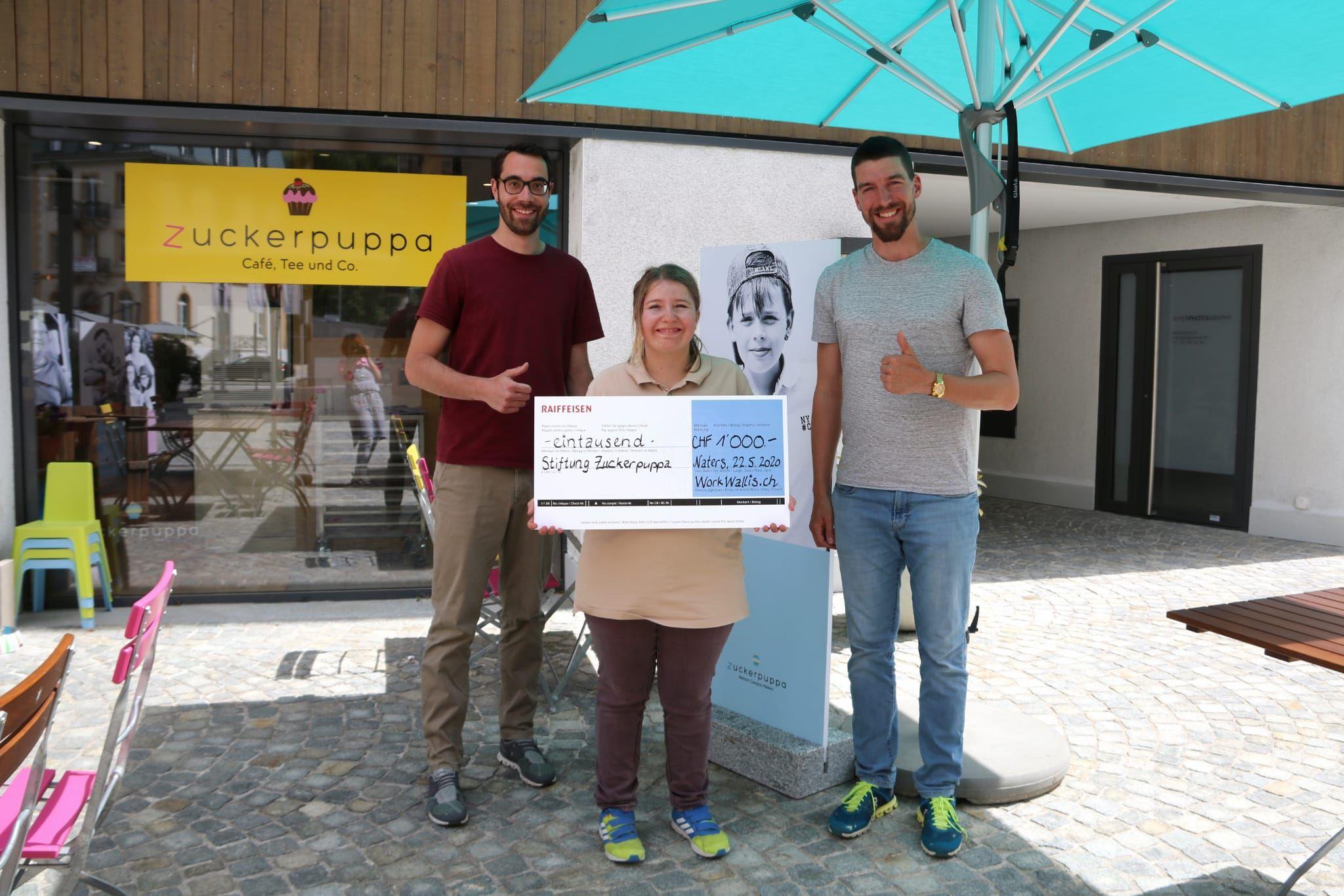 WorkWallis.ch spendet tausend Franken an Stiftung Zuckerpuppa