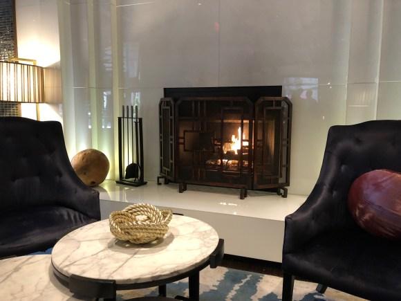 Fireplace in the lobby of the Kimpton Hotel Palomar Philadelphia
