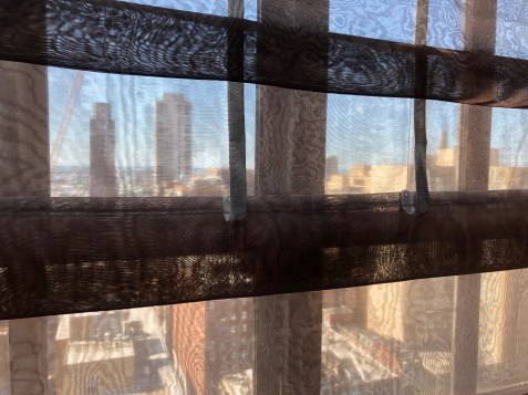 Kimpton Hotel Palomar Philadelphia:  View from the 22nd Floor, through Roman shades.