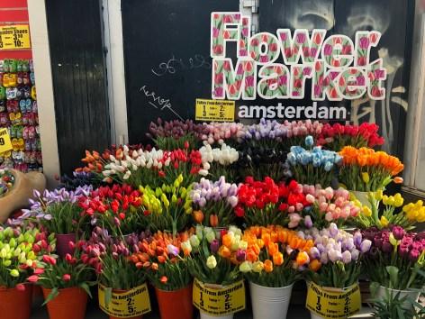 Silk tulips in the Bloemenmarkt