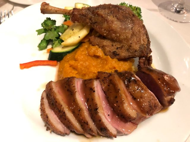 Review of the Sergeantsville Inn:  Soy duckling with mashed sweet potatoes