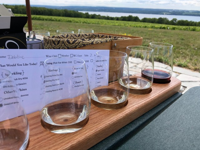 Finger Lakes Wine Tour:  Tasting Samples and View From Boundary Breaks