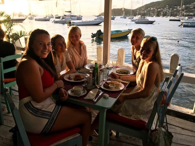 2018 january 18. Katharina, Synne, Vilde, Ane and Ragna restaurant in Bequia. Photo by Nicolea Tvedten