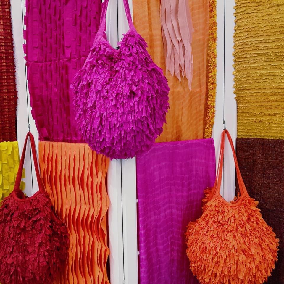 Colourful fabrics designed by Eric Raisina Couture