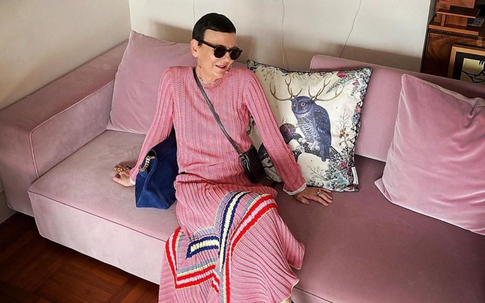 Frederique Gilain wearing Celine knit skirt by Phoebe Philo