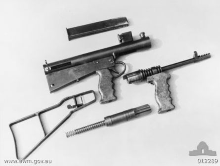 Owen Mk.1-42 submachine gun, field stripped