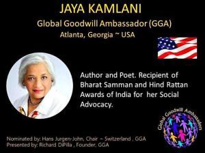 Jaya Kamlani Global Goodwill Ambassador GGA