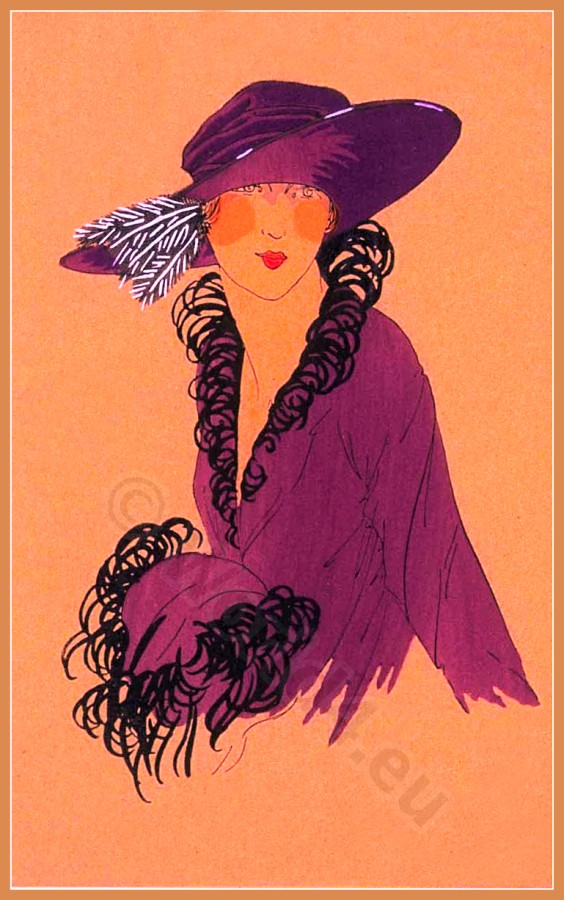 Costume Design. Fashion plate. Art deco hat fashion