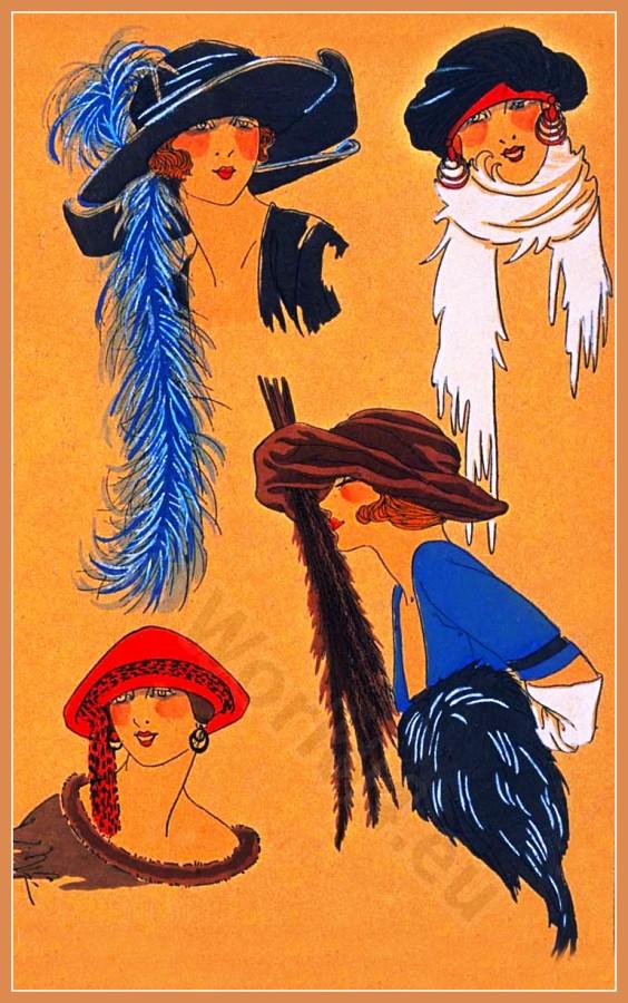 Creation Lewis, Chapeaux, Très Parisien, Art deco, Art-deco, headdress, hat, fashion