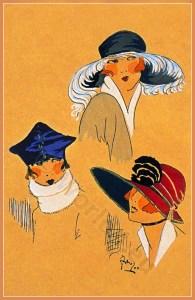 French Hats Fashion. Art Deco Bonnets Fleurs de Élégances. Chapeaux du Très Parisien