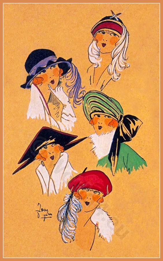 NOUVEAU STYLE, Chapeaux, Très Parisien, Art deco, Art-deco, headdress, hat, fashion