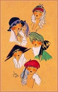 Nouveau Style. Art deco era headdresses. Cloche hats, Flapper, Gatsby fashion.