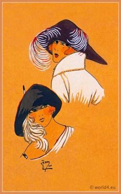 Sourire d'Automne. Art deco era headdresses. Cloche hats, Flapper, Gatsby fashion.
