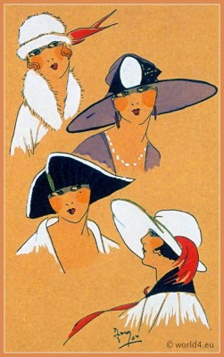 Sélection Exquise. Art deco era headdresses. Cloche hats, Flapper, Gatsby fashion.