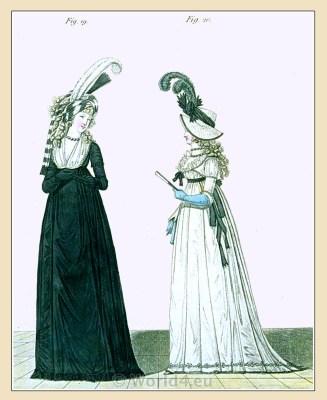 Gallery of Fashion. England Georgian, Regency era fashion. Neoclassical costumes.