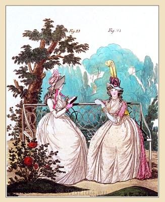 Heideloff The Gallery of Fashion. England Georgian period. Regency costumes. Jane Austen clothing. Directoire, Directory fashion.