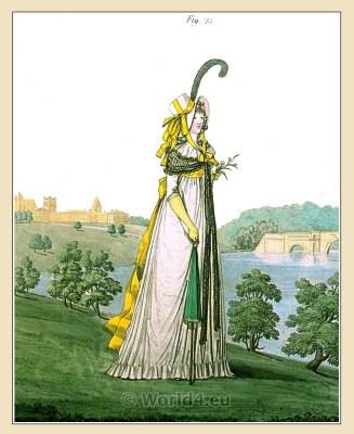 Regency white chip gipsy hat. Gallery of Fashion. England Georgian, Regency era fashion. Neoclassical costumes.