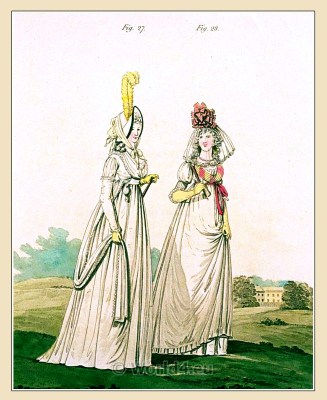 Round gown. Gallery of Fashion. England Georgian, Regency era fashion. Neoclassical costumes.