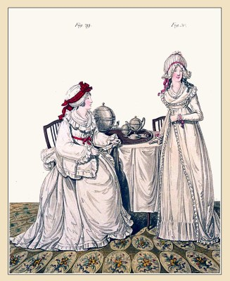 Ladies at breakfast. Gallery of Fashion. England Georgian, Regency era fashion. Neoclassical costumes.