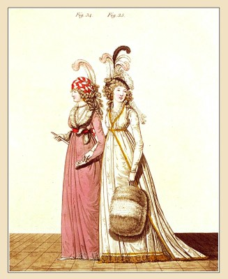 Robe à la Turque. Gallery of Fashion. England Georgian, Regency era fashion. Neoclassical costumes.