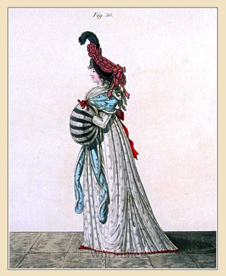 Bonnet of black velvet. Gallery of Fashion. Georgian fashion. Neoclassical costumes.