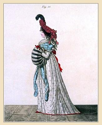 Bonnet of black velvet. Gallery of Fashion. Georgian fashion. Neoclassical costumes.