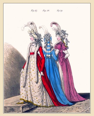 Regency robe à la Polonaise. Georgian fashion. Jane Austen costumes.