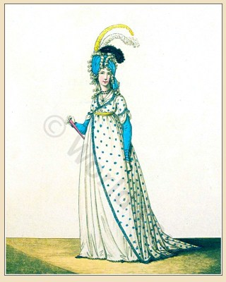 Neoclassical fashion. Jane Austen costume. Empire fashion. Eighteenth century clothing.