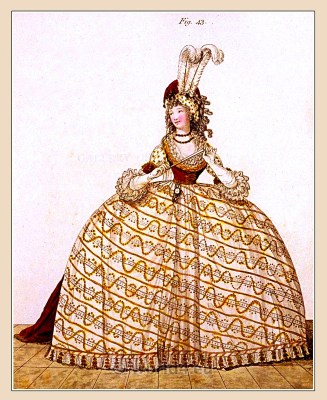 Court Dress. Gallery of Fashion. England Georgian, Regency era fashion. Neoclassical costumes.