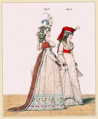 Circassian robe. Gallery of Fashion. England Georgian, Regency era fashion. Neoclassical costumes.