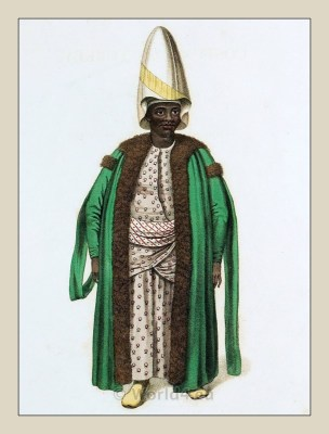 Kislar Aga. Sudanese eunuch. Ottoman Harem. Historical Ottoman empire costumes.