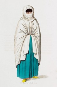 Muslim woman in everyday dress. Ottoman empire historical clothing
