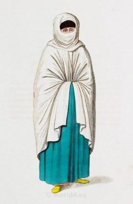 Turkish woman dress. Turkey traditional clothing. Historical Ottoman empire costumes.