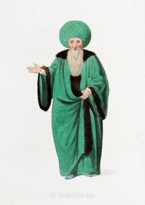 Ulemas. Islamic Law. Historical Turkish costumes. Ottoman empire costumes.