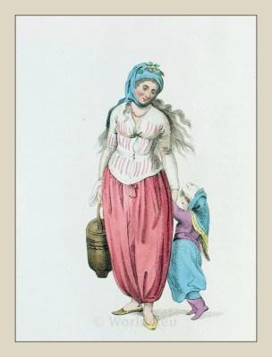 Greek woman clothing. Ottoman empire. Island of Marmara. Historical Turkey costumes.